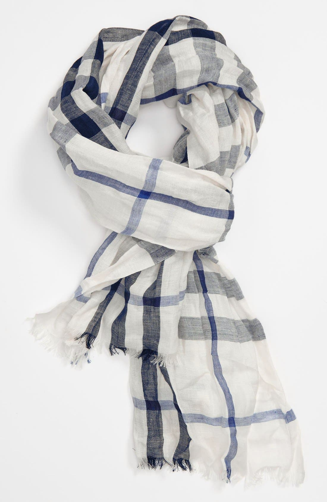 Main Image - Burberry Exploded Check Linen & Silk Scarf