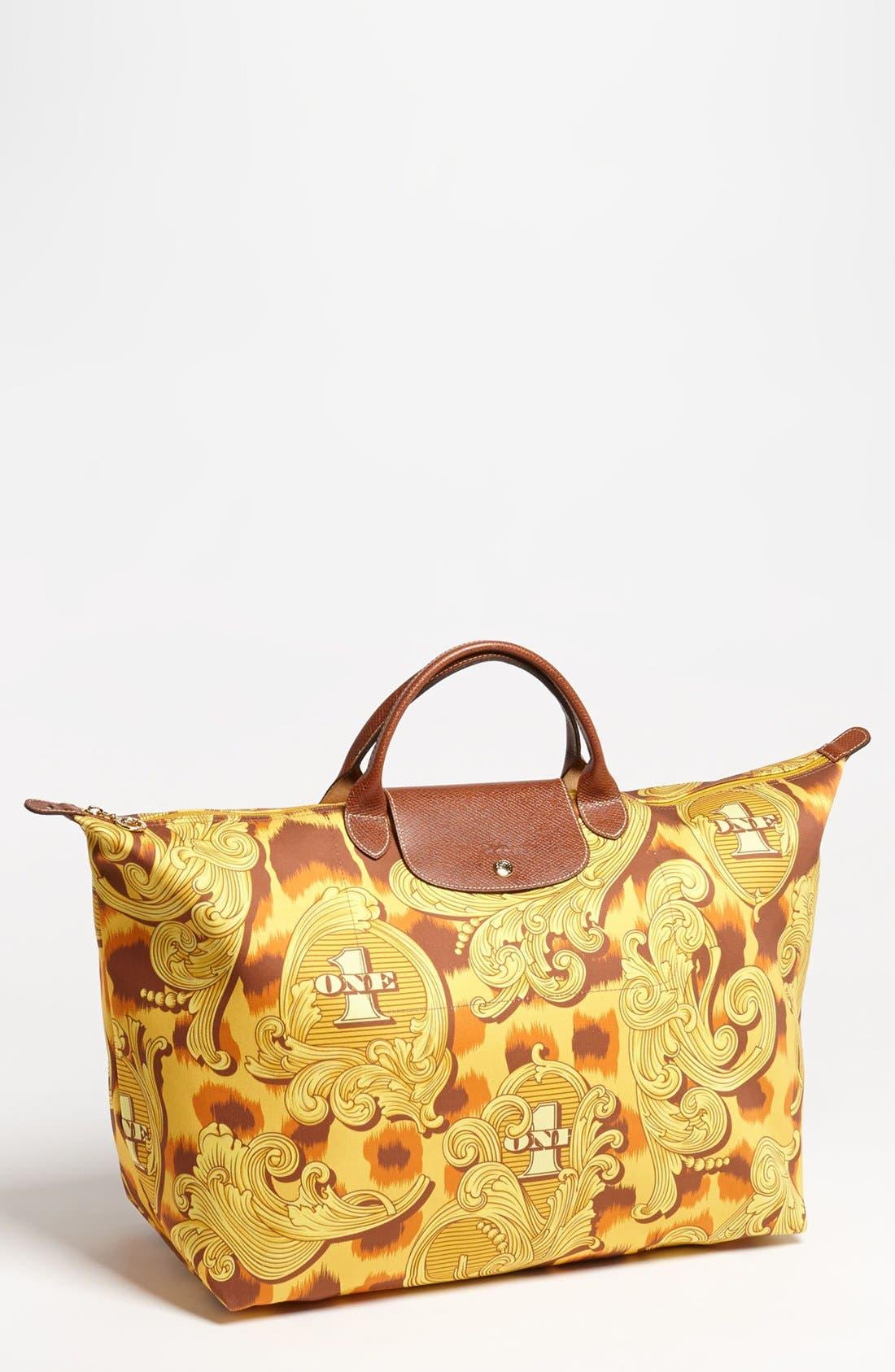 Main Image - Longchamp 'Jeremy Scott - Leopard Flourish' Canvas Travel Bag