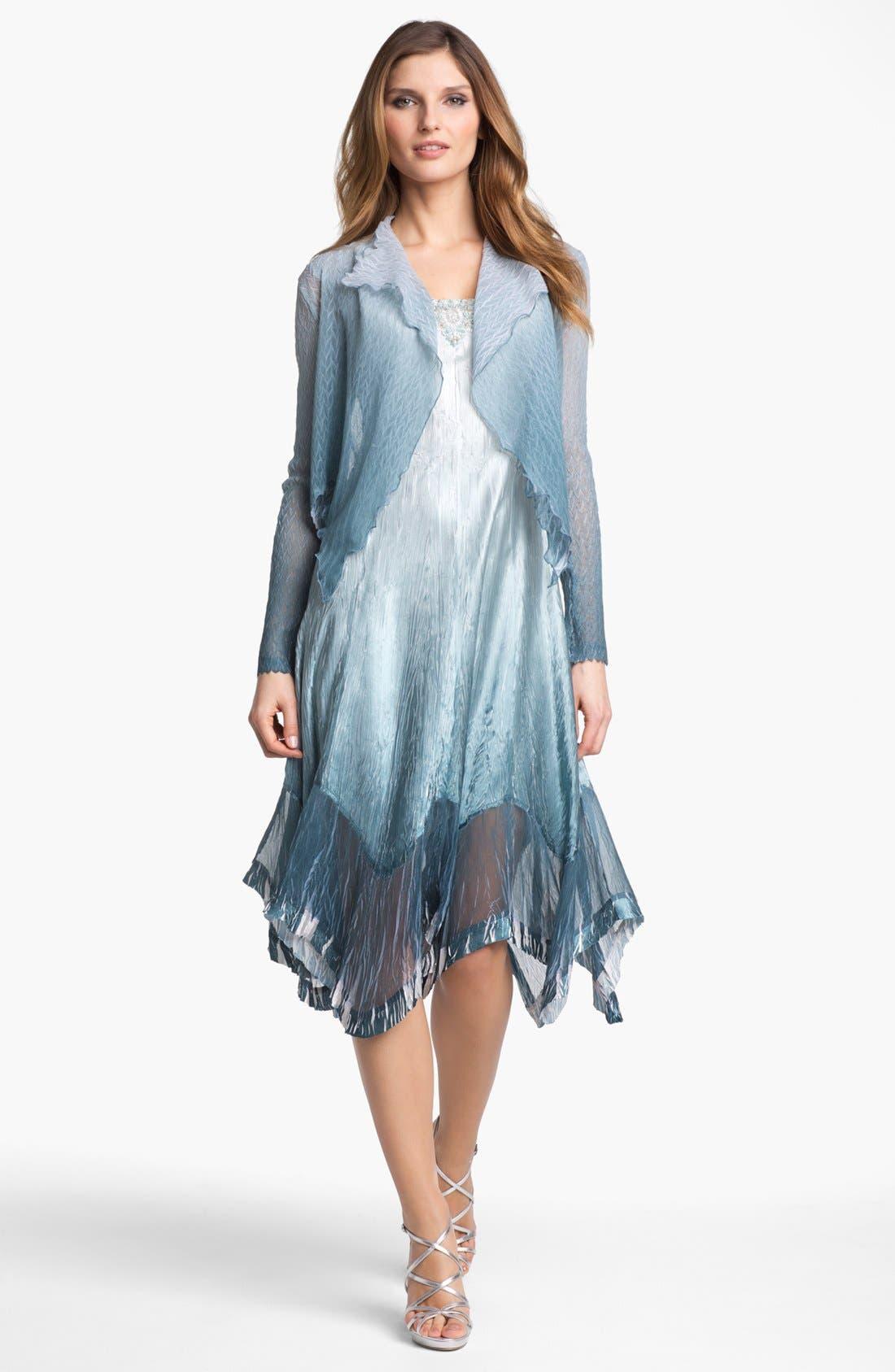 Alternate Image 1  - Komarov Textured Ombré Chiffon Dress & Jacket