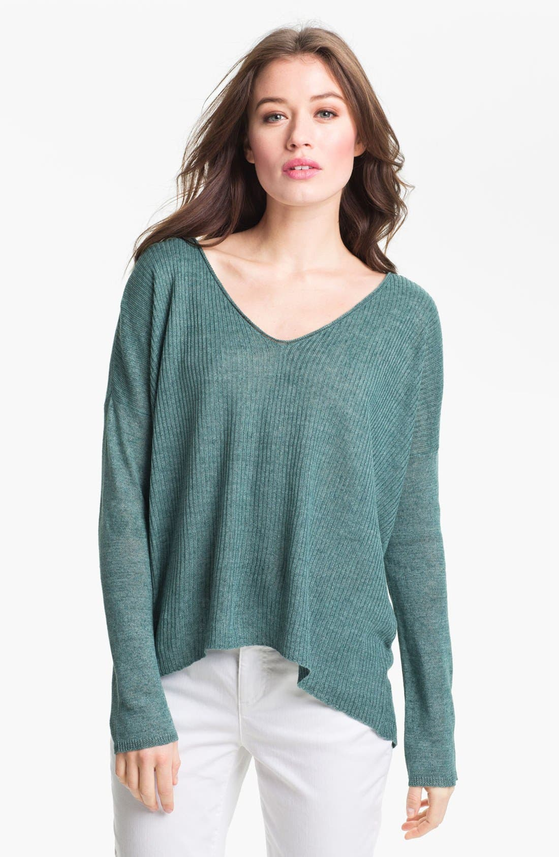 Alternate Image 1 Selected - Eileen Fisher 'Delave' Linen V-Neck Sweater