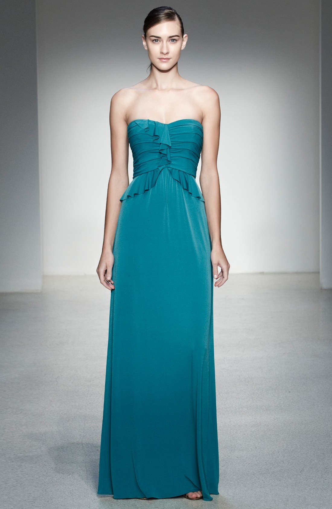 Alternate Image 4  - Amsale Strapless Ruffled Peplum Jersey Gown