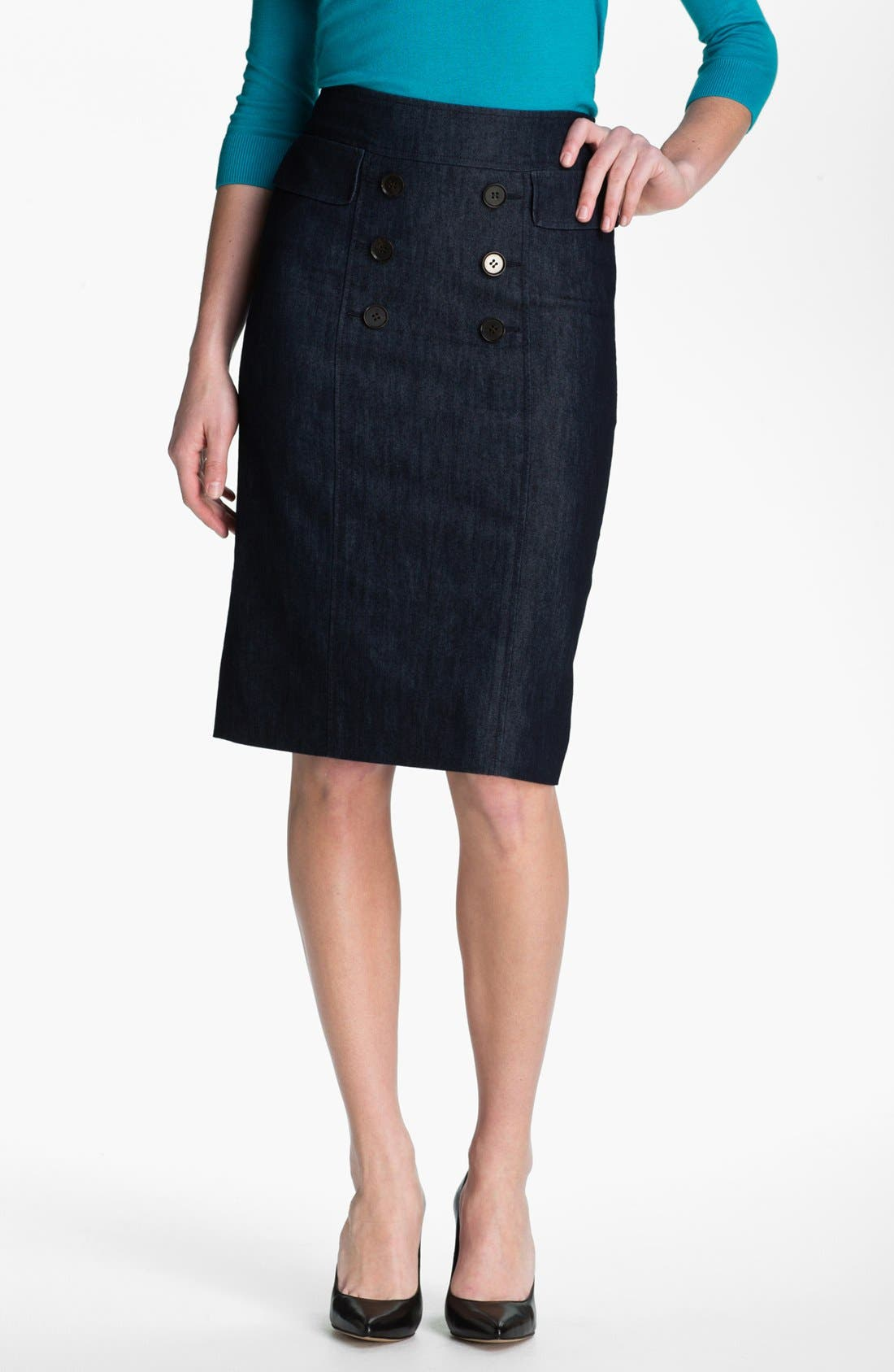 Alternate Image 1 Selected - Halogen Double Button Front Denim Skirt (Petite)