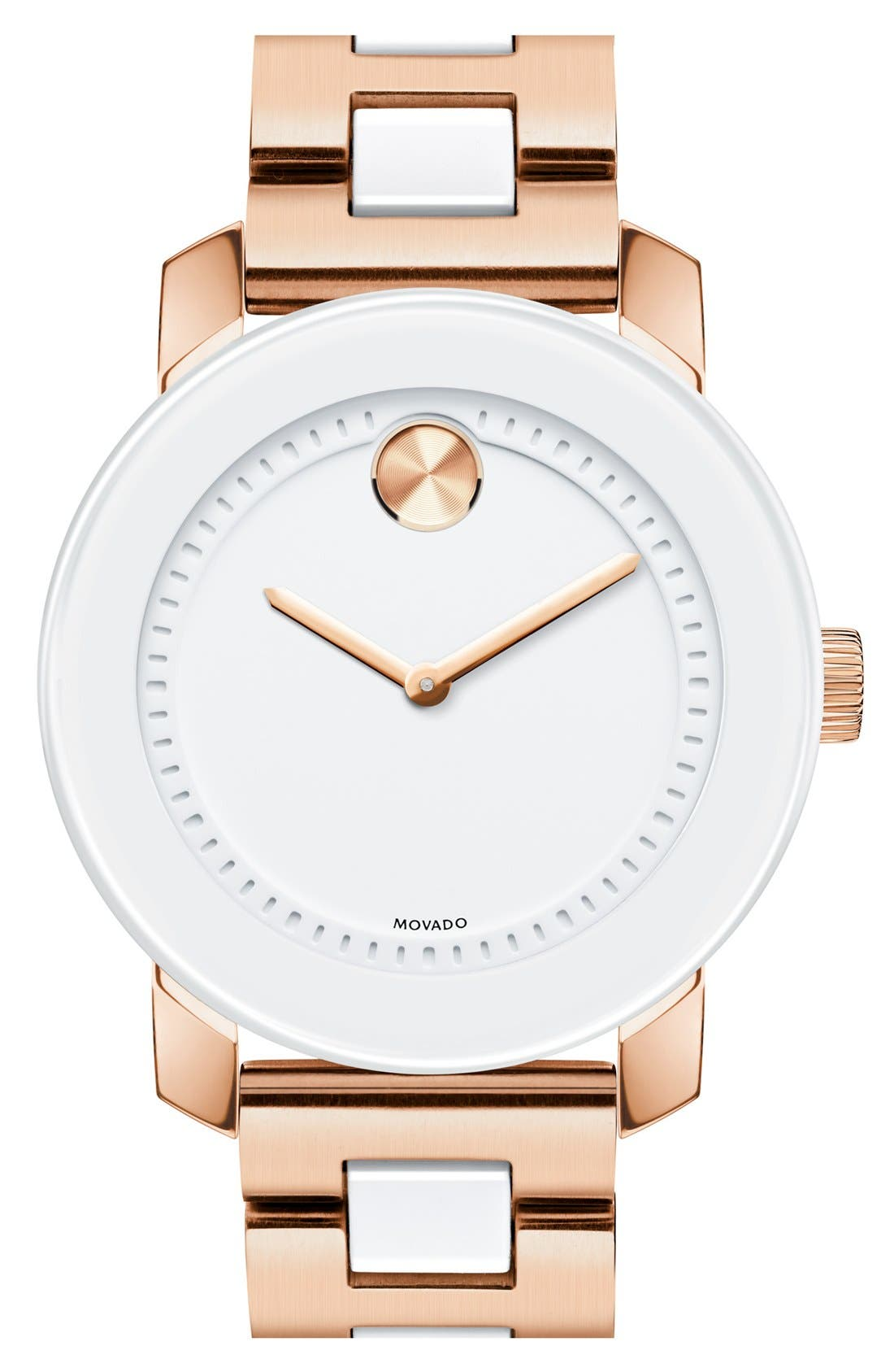 Main Image - Movado 'Bold' White Link Bracelet Watch, 36mm