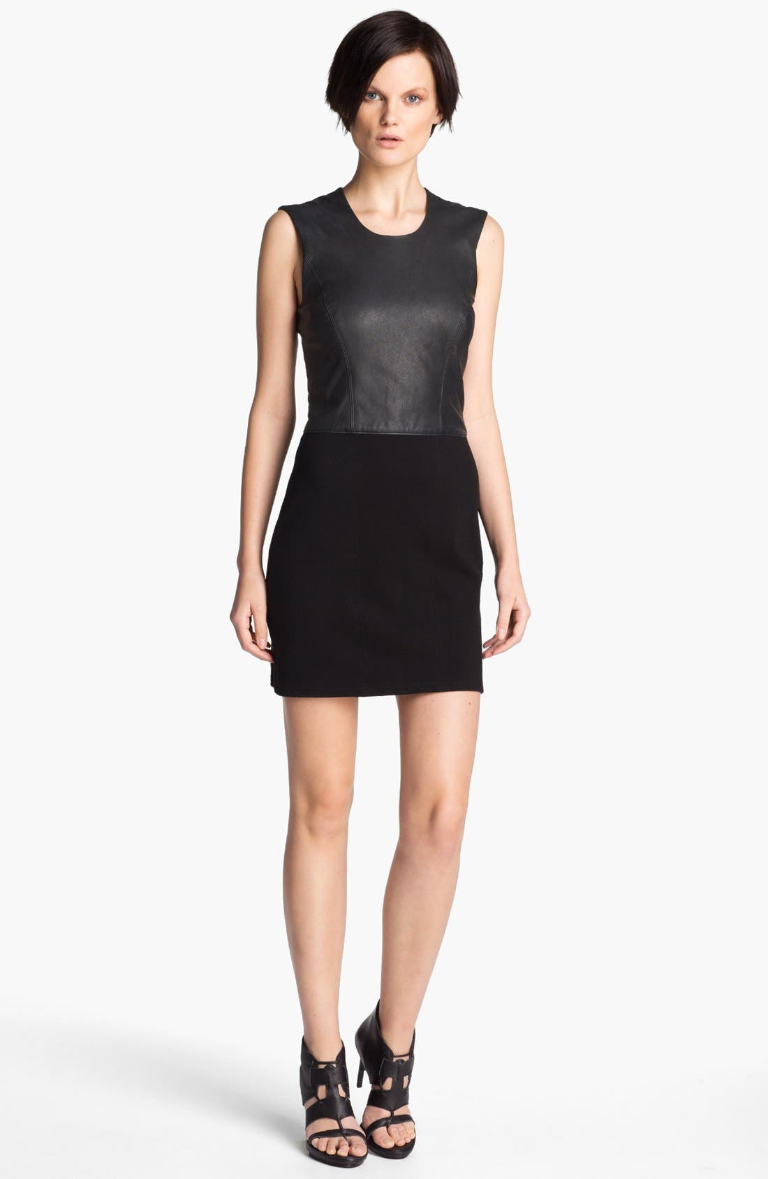 Main Image - HELMUT Helmut Lang Leather Combo Minidress