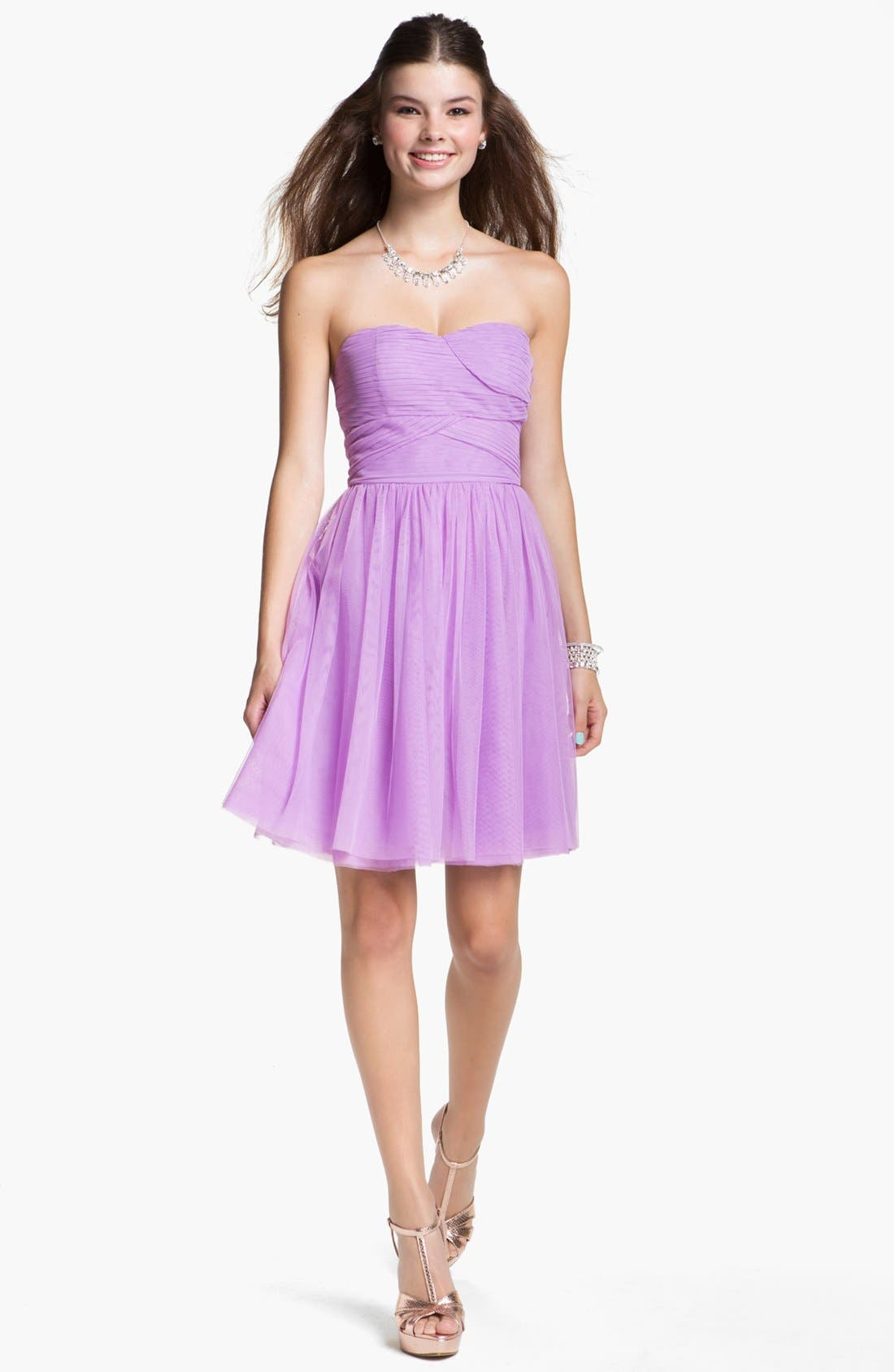 Main Image - En Crème Chiffon Skater Dress (Juniors)