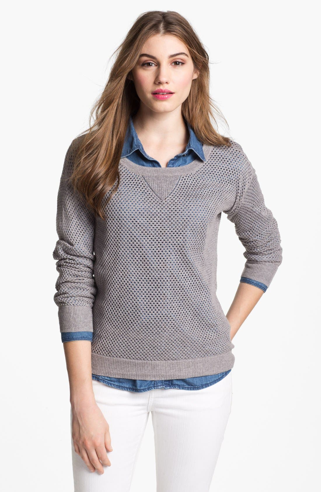Alternate Image 1 Selected - Sweet Romeo Open Stitch Sweater