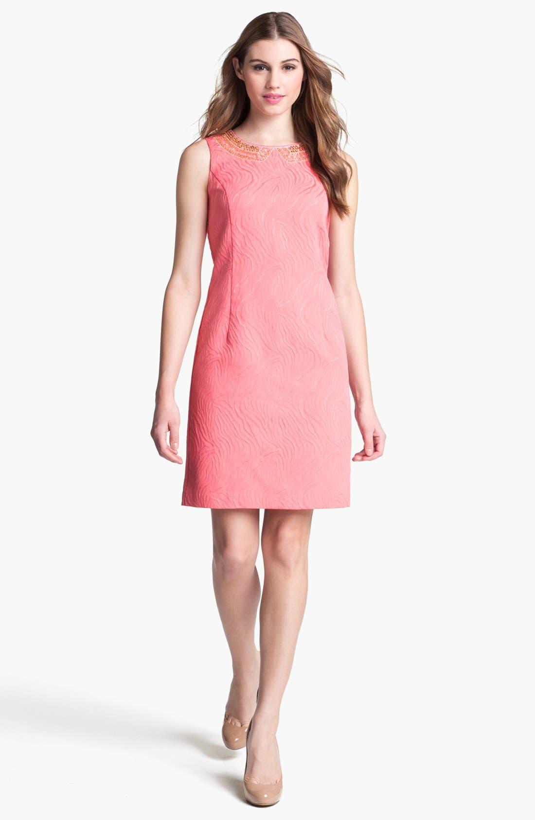 Alternate Image 1  - Ellen Tracy Embellished Jacquard Shift Dress