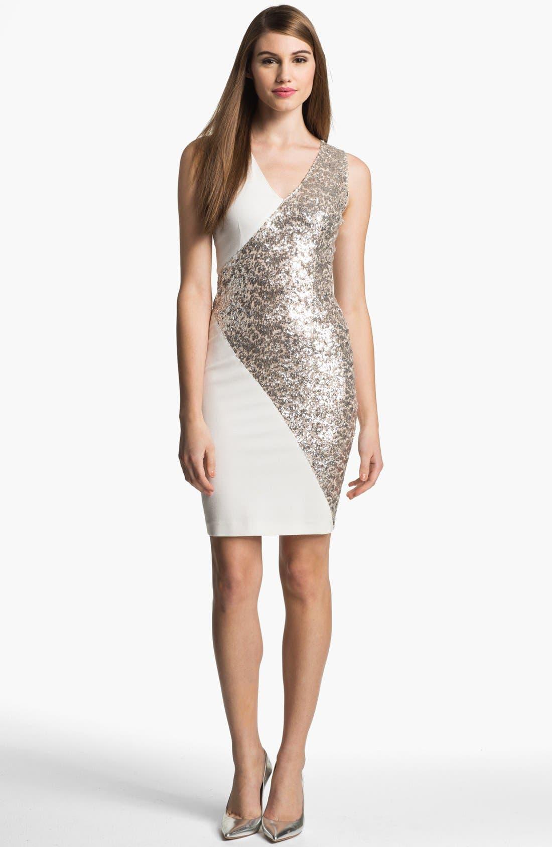 Alternate Image 1 Selected - ERIN erin fetherston Embellished Ponte Sheath Dress