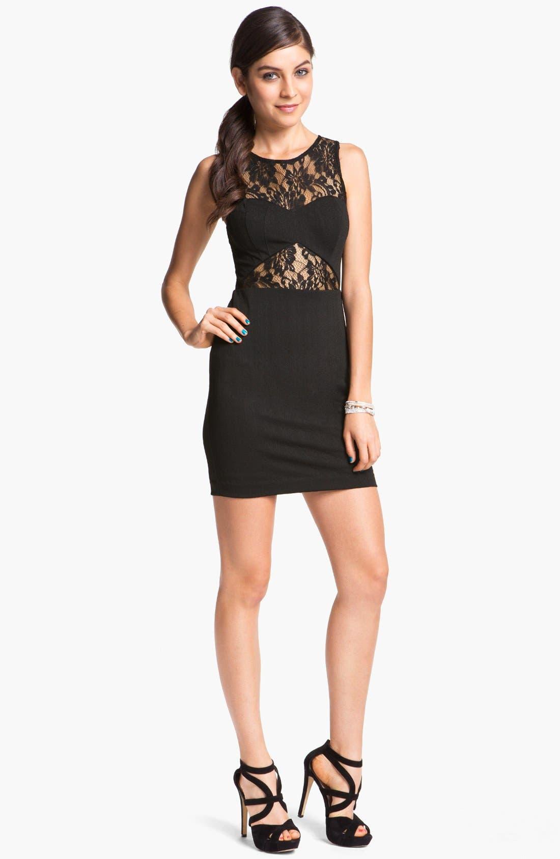 Main Image - En Crème Lace Illusion Body-Con Dress (Juniors)