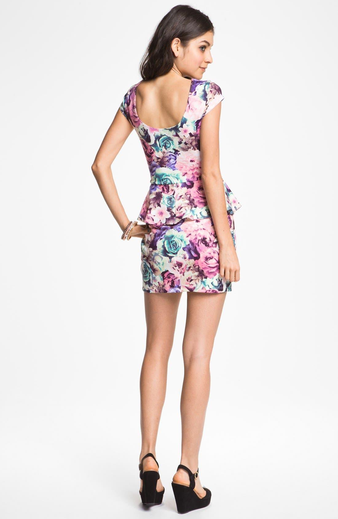 Alternate Image 2  - As U Wish Floral Print Peplum Dress (Juniors)