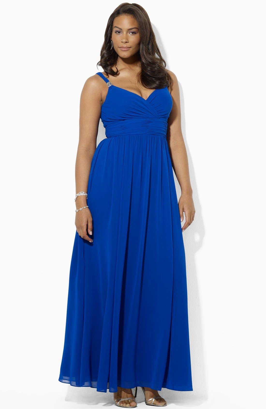 Alternate Image 2  - Lauren Ralph Lauren Embellished Surplice Chiffon Gown (Plus Size)