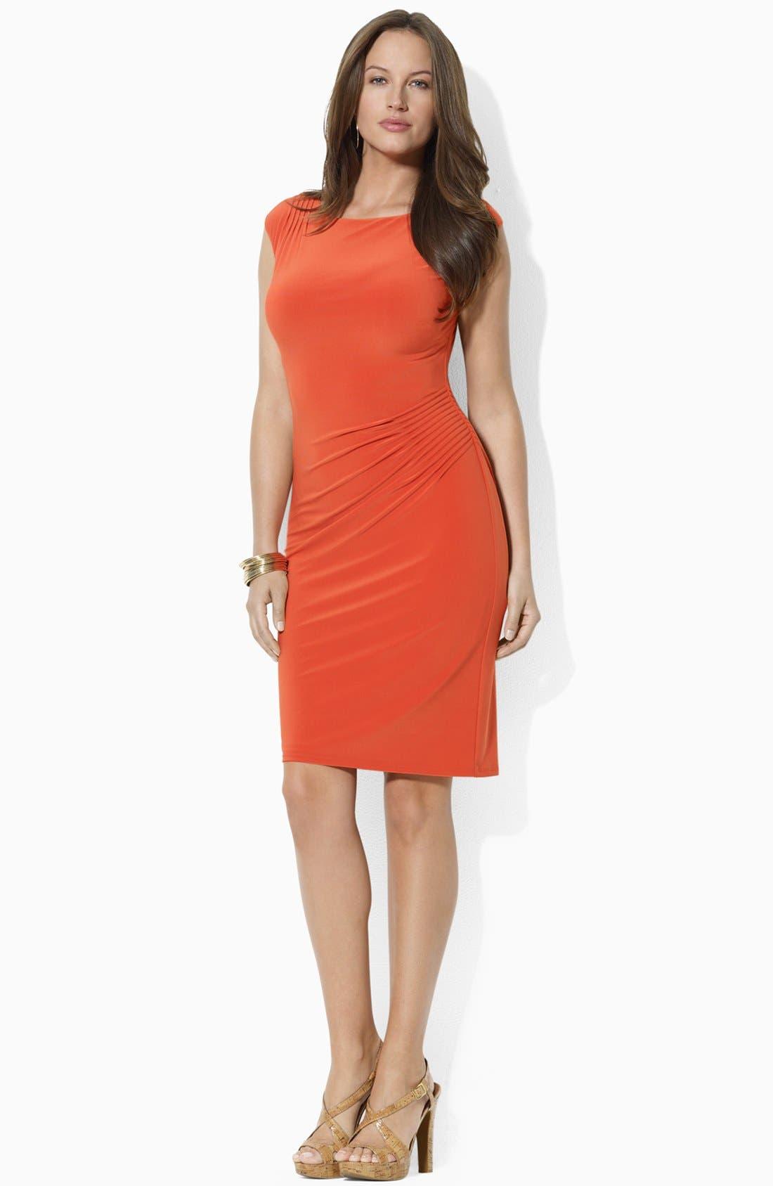 Alternate Image 1 Selected - Lauren Ralph Lauren Pintucked Jersey Sheath Dress (Plus Size)
