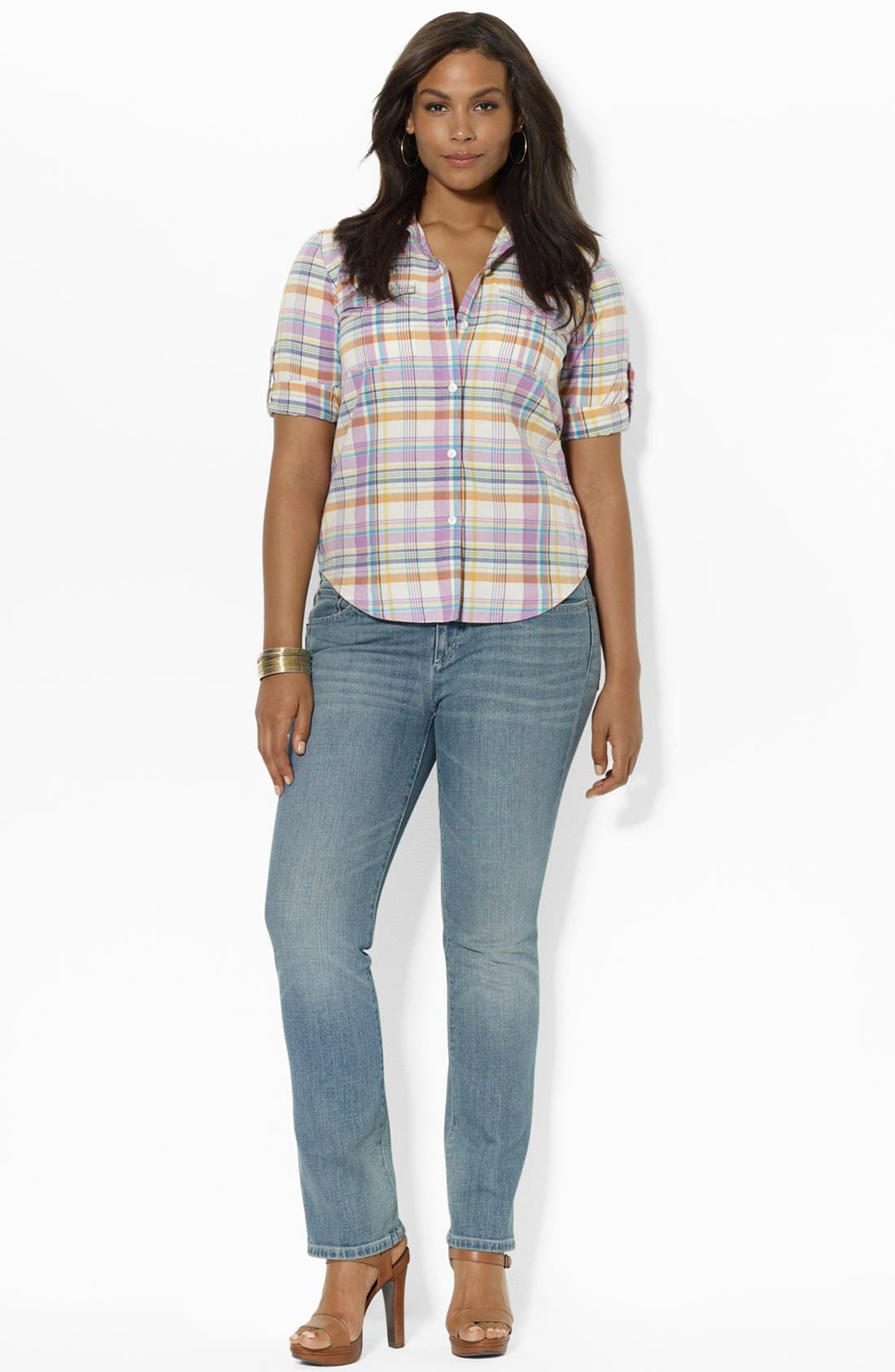 Alternate Image 4  - Lauren Ralph Lauren Fitted Print Shirt (Plus Size)