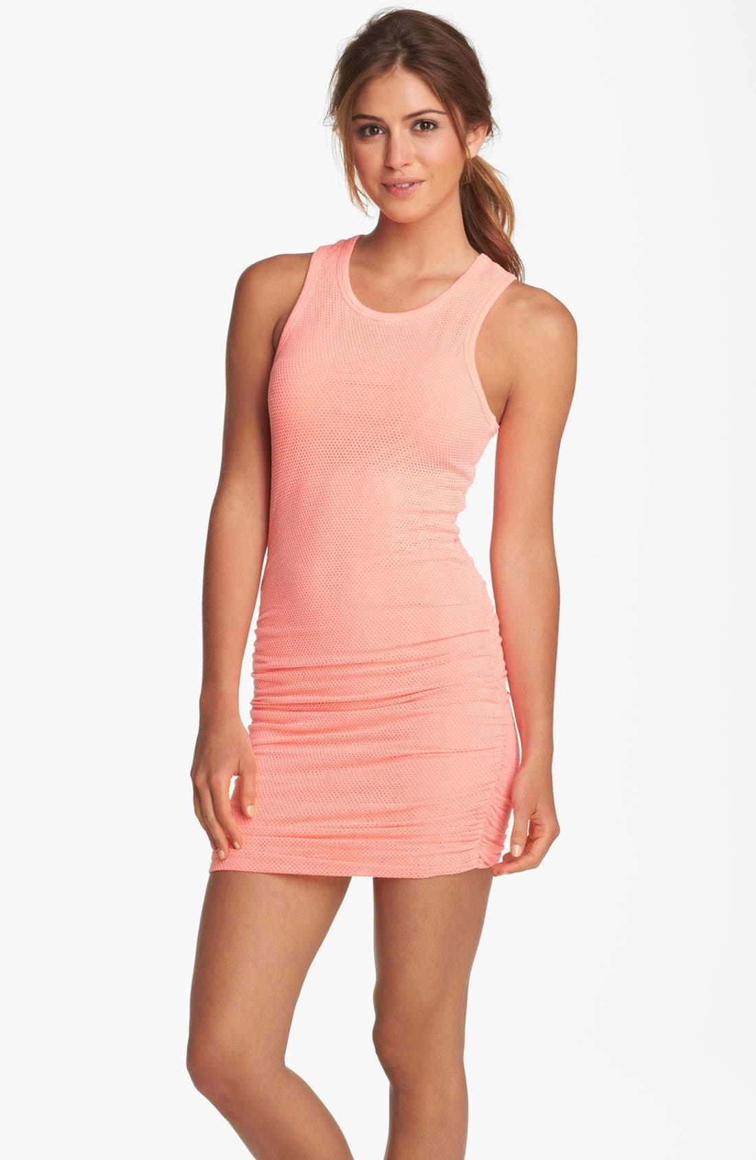 Alternate Image 1 Selected - Solow Shirred Mesh Minidress