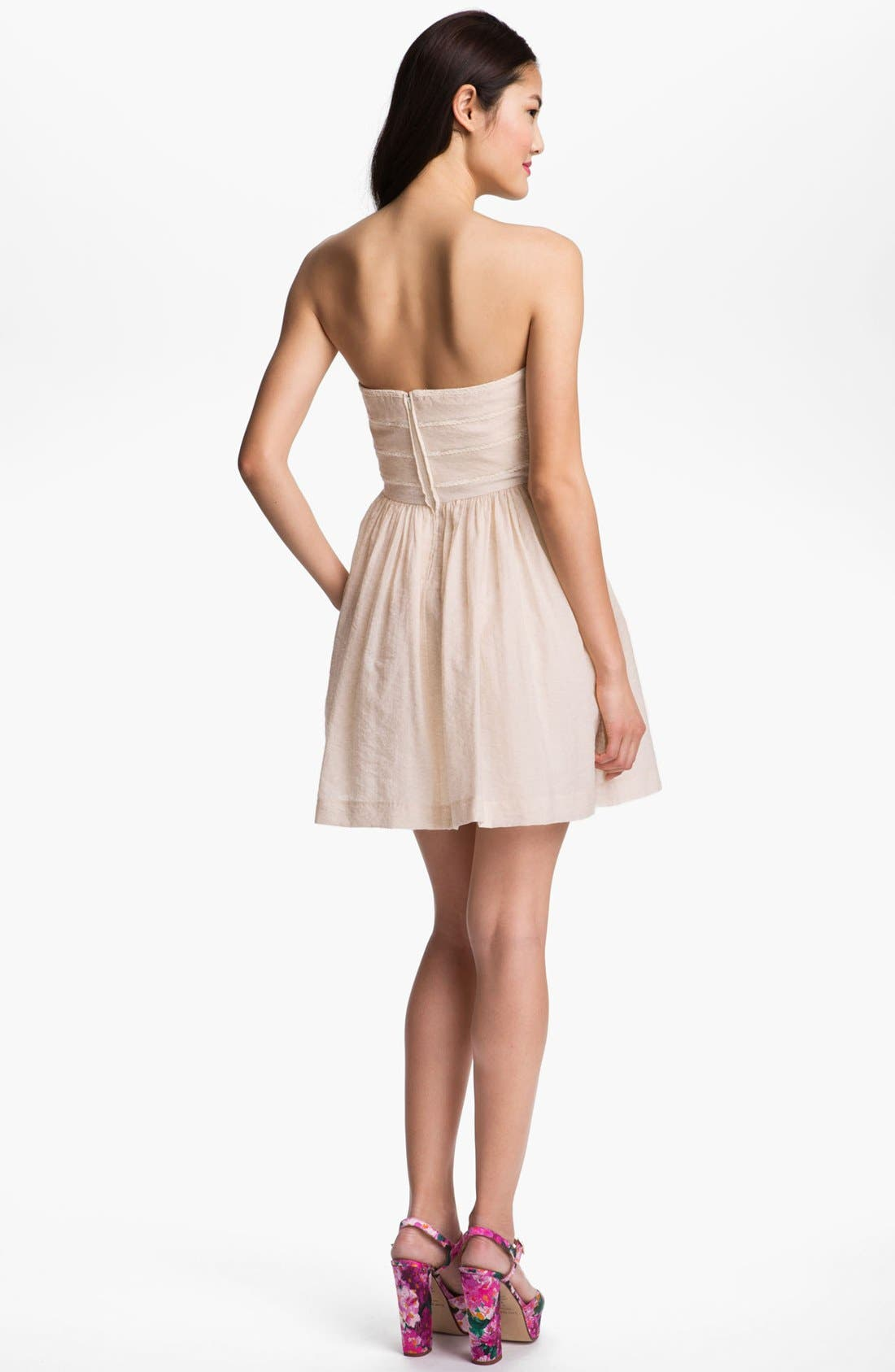 Alternate Image 2  - Jessica Simpson Lace Trim Fit & Flare Dress