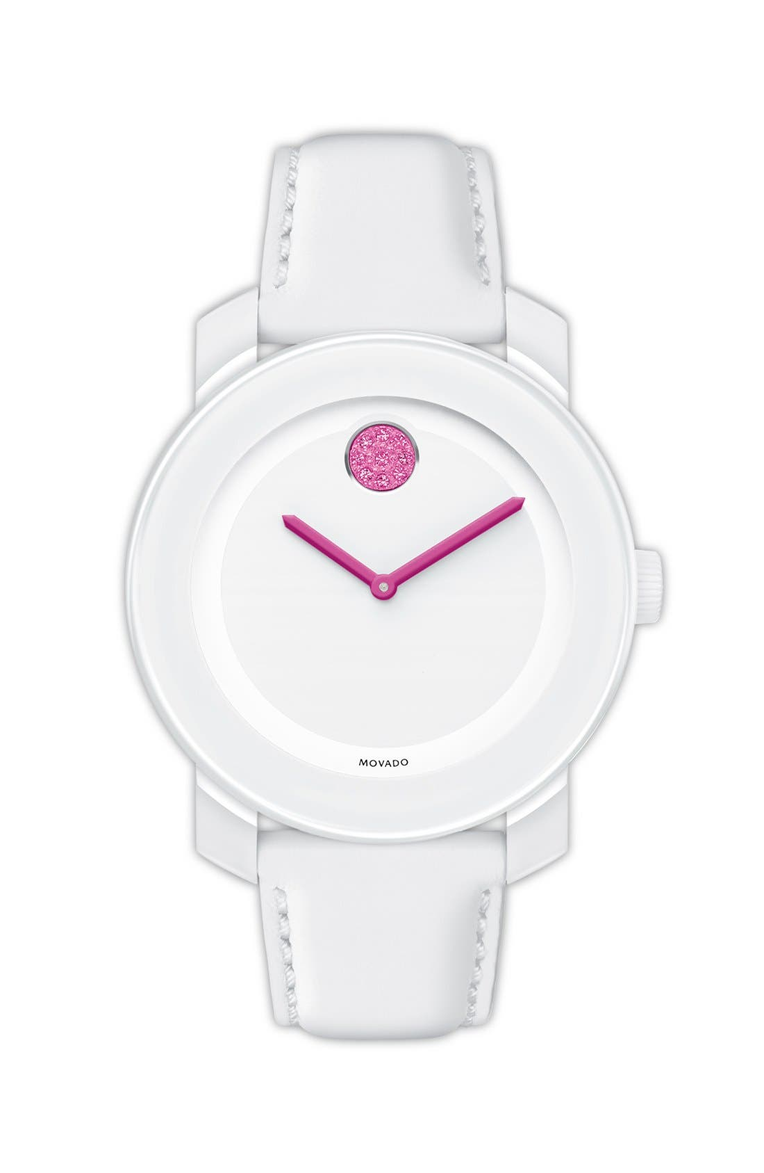 Main Image - Movado 'Bold' Crystal Dot Leather Strap Watch, 36mm