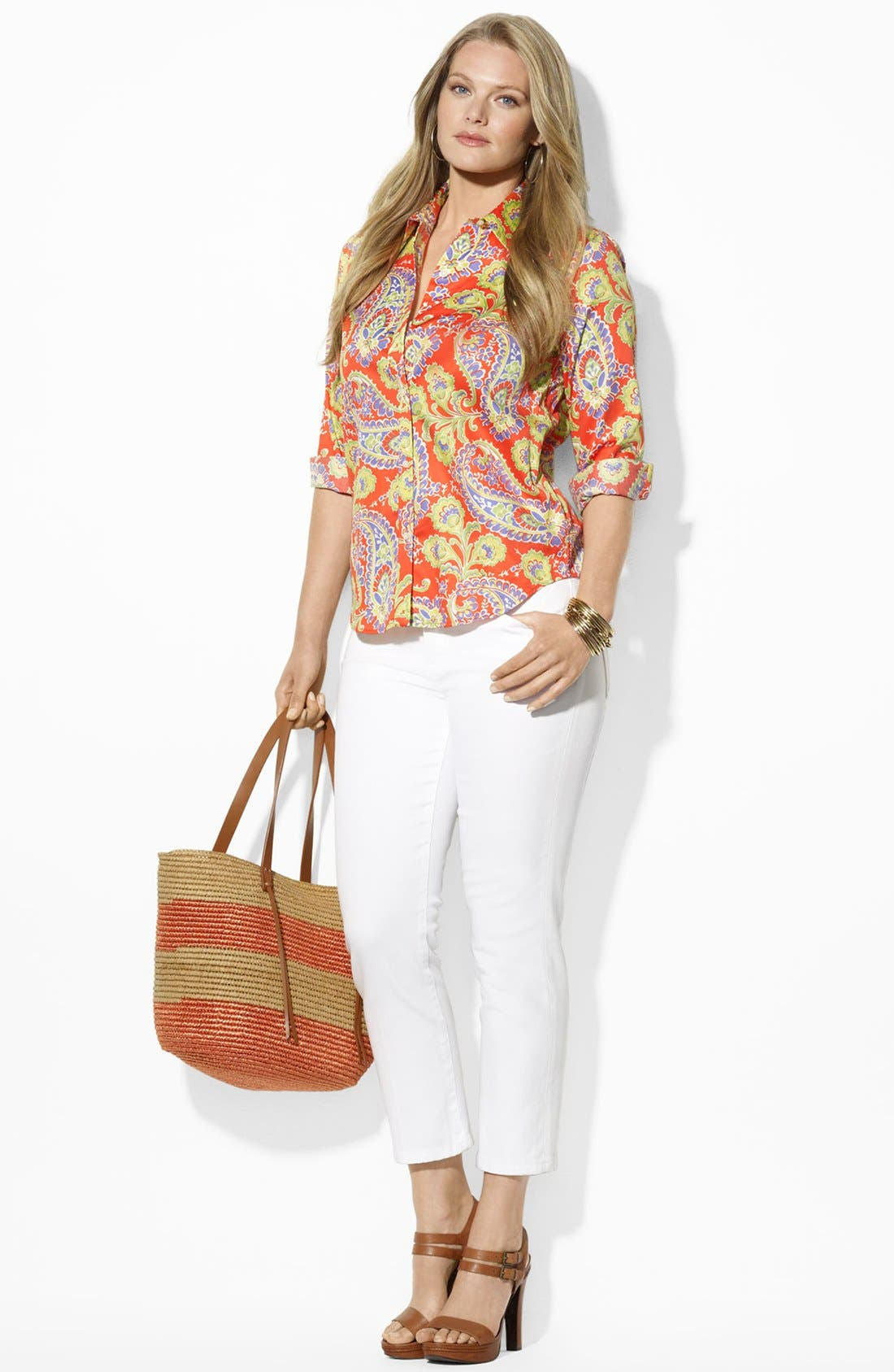 Alternate Image 3  - Lauren Ralph Lauren Paisley Print Cotton Shirt (Plus Size)