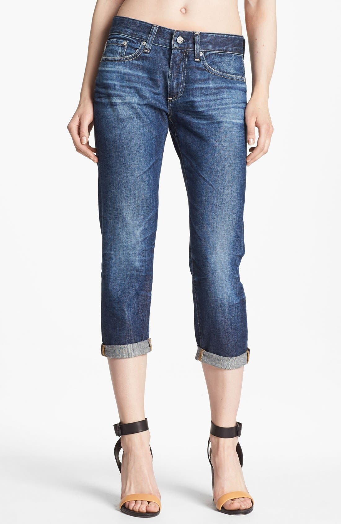 Alternate Image 1 Selected - AG Jeans 'Piper' Crop Slouchy Slim Jeans (Five Year Blue)