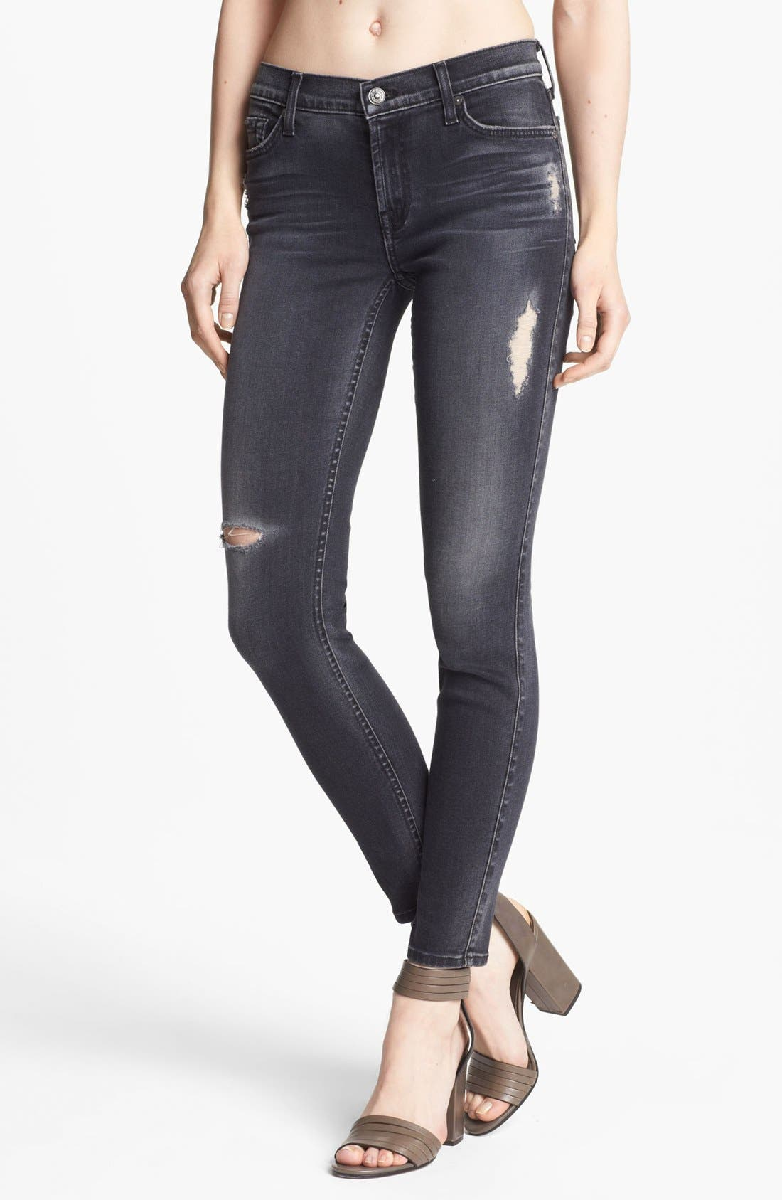 Alternate Image 1 Selected - 7 For All Mankind® 'The Skinny 29' Stretch Jeans (Blue Black Destroyed)