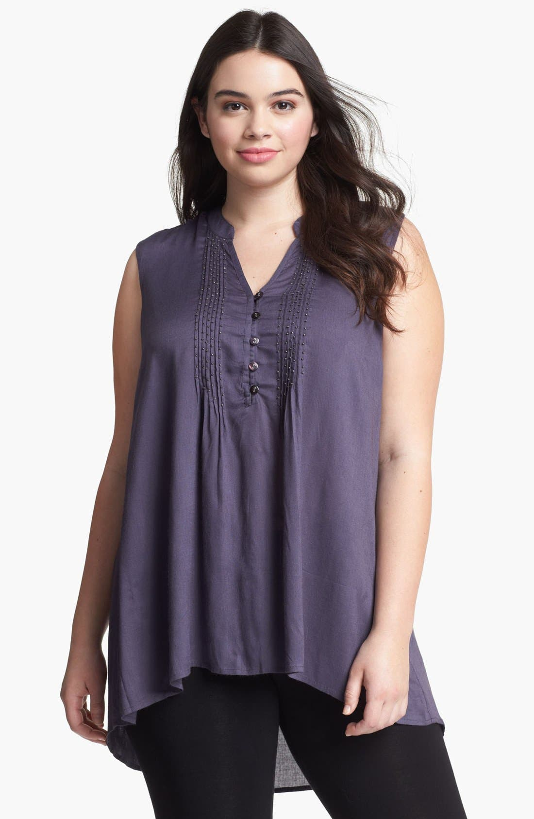 Alternate Image 1 Selected - Evans Embellished Sleeveless High/Low Top (Plus Size)