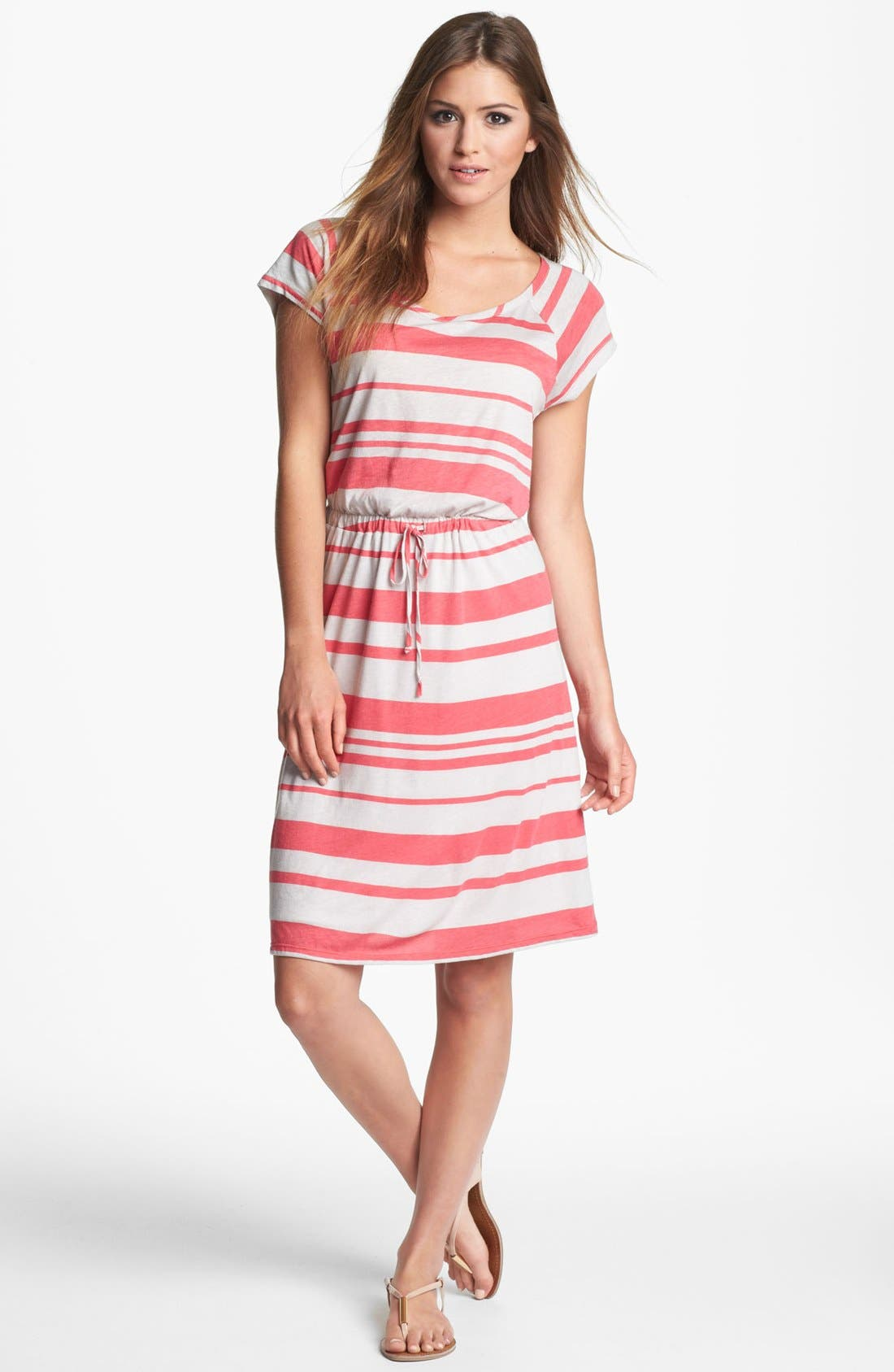 Main Image - Felicity & Coco Stripe Drawstring Jersey Dress (Nordstrom Exclusive)