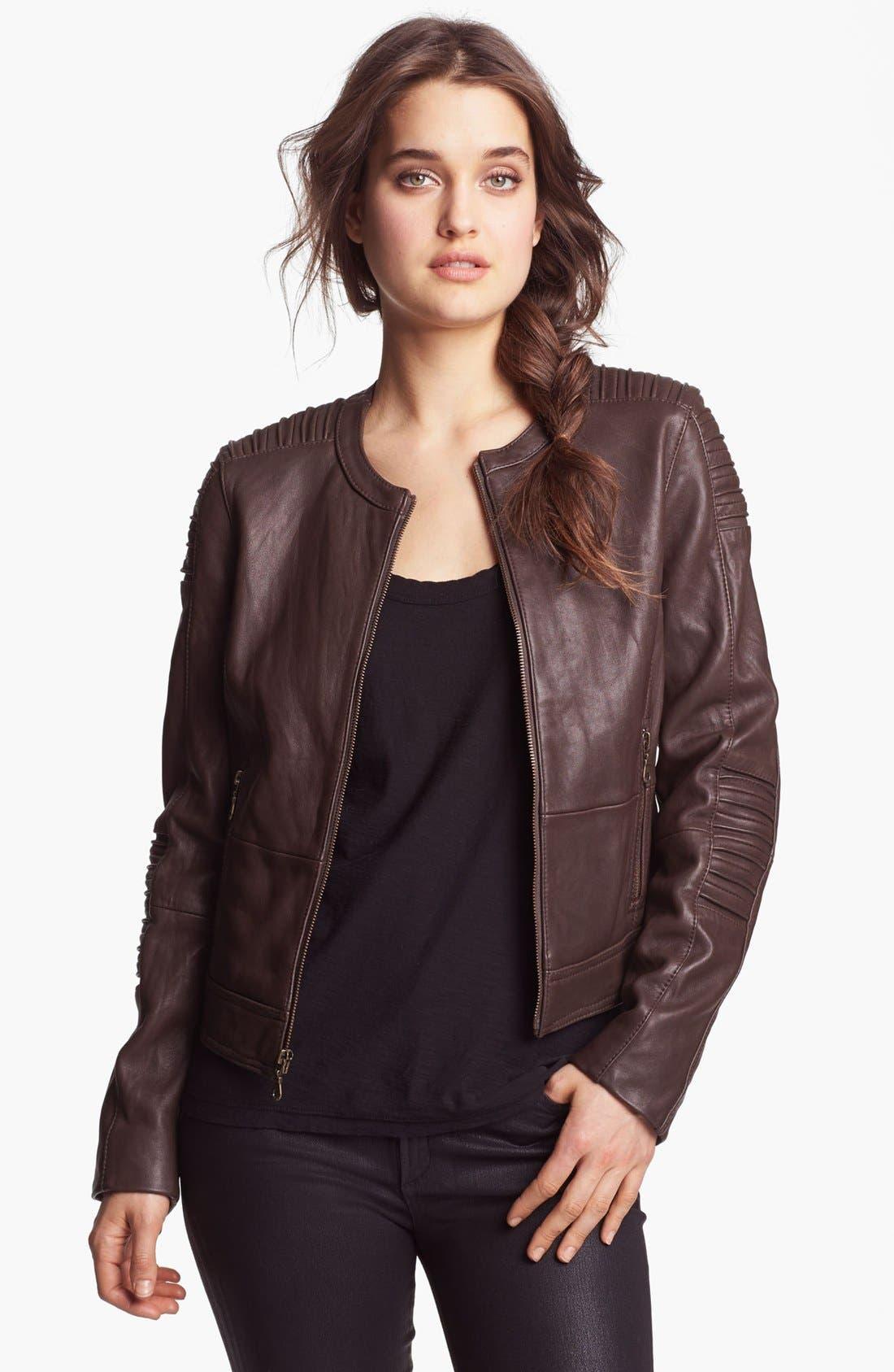 Alternate Image 4  - DKNY Collarless Leather Jacket