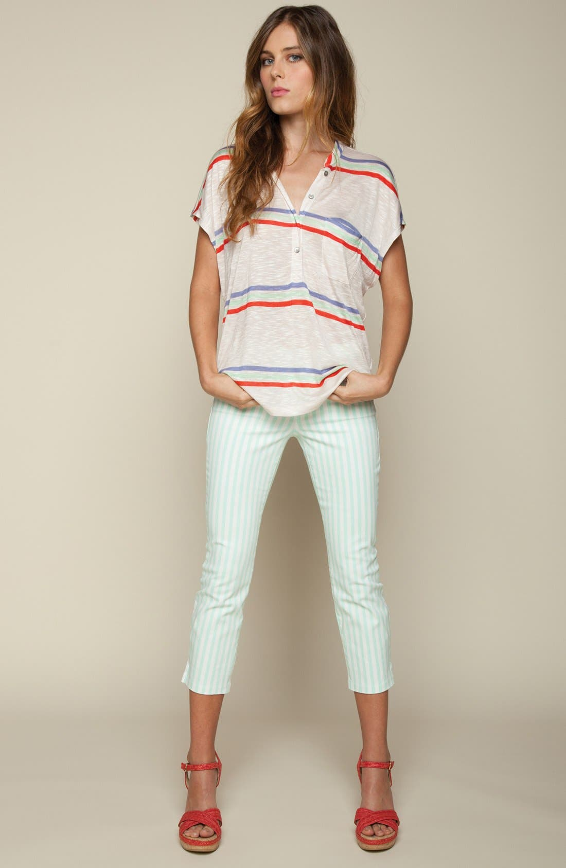 Alternate Image 4  - Splendid 'Shoreside' Stripe Cropped Skinny Pants