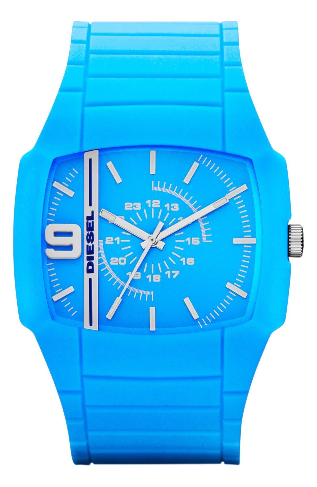 Main Image - DIESEL® 'Trojan' Silicone Strap Watch, 48mm x 43mm
