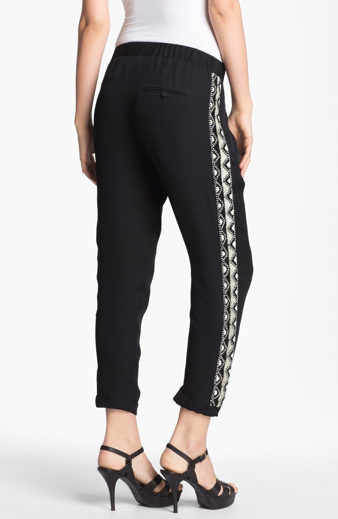 Alternate Image 2  - Haute Hippie Beaded Silk Trousers