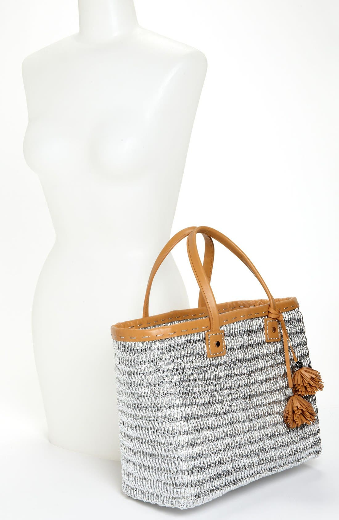 Alternate Image 2  - Tory Burch Metallic Straw Tote, Large