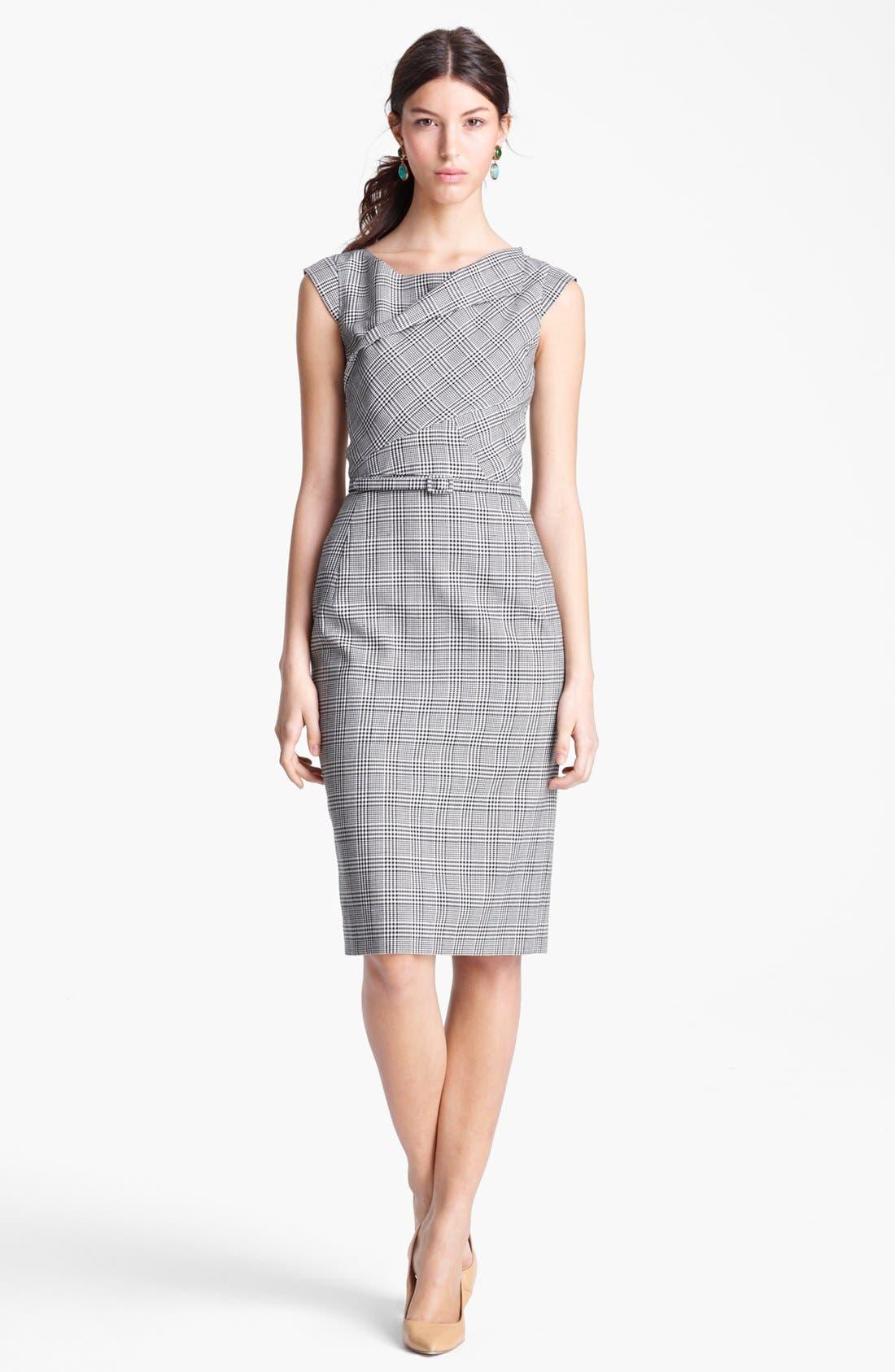 Alternate Image 1 Selected - Oscar de la Renta Belted Glen Plaid Dress