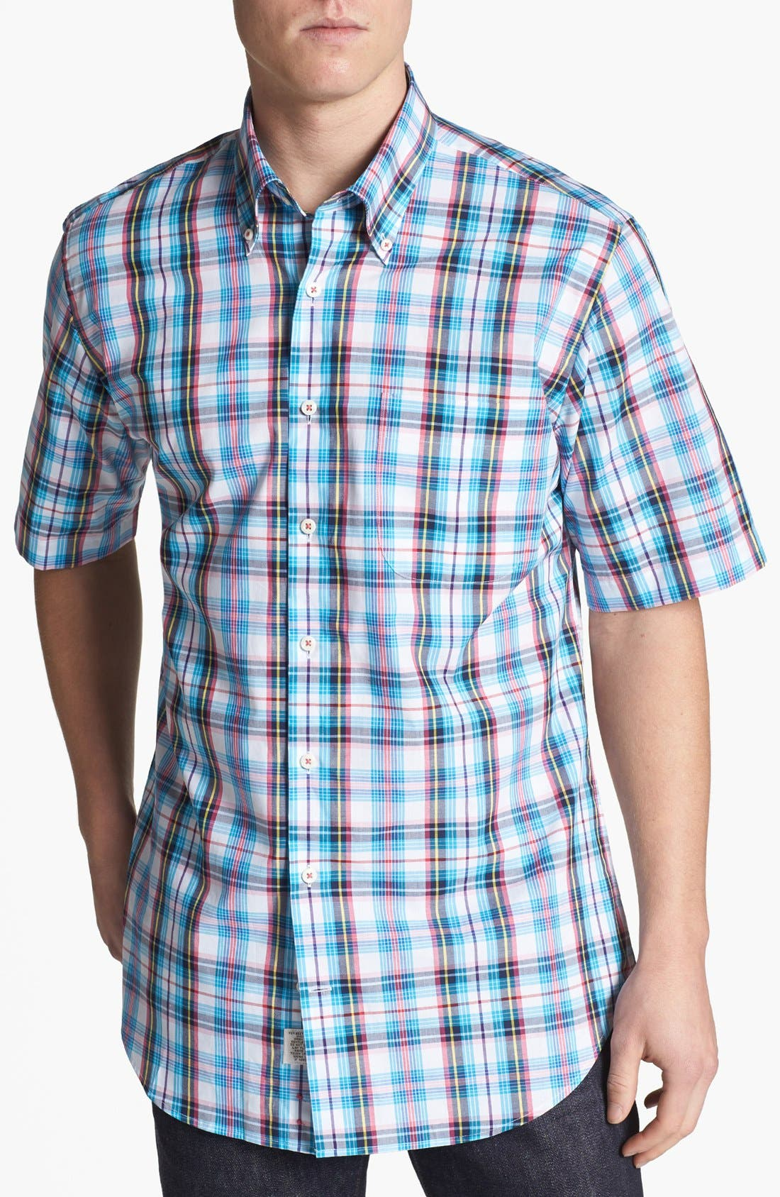 Alternate Image 1 Selected - Peter Millar 'Nantucket' Tartan Short Sleeve Sport Shirt