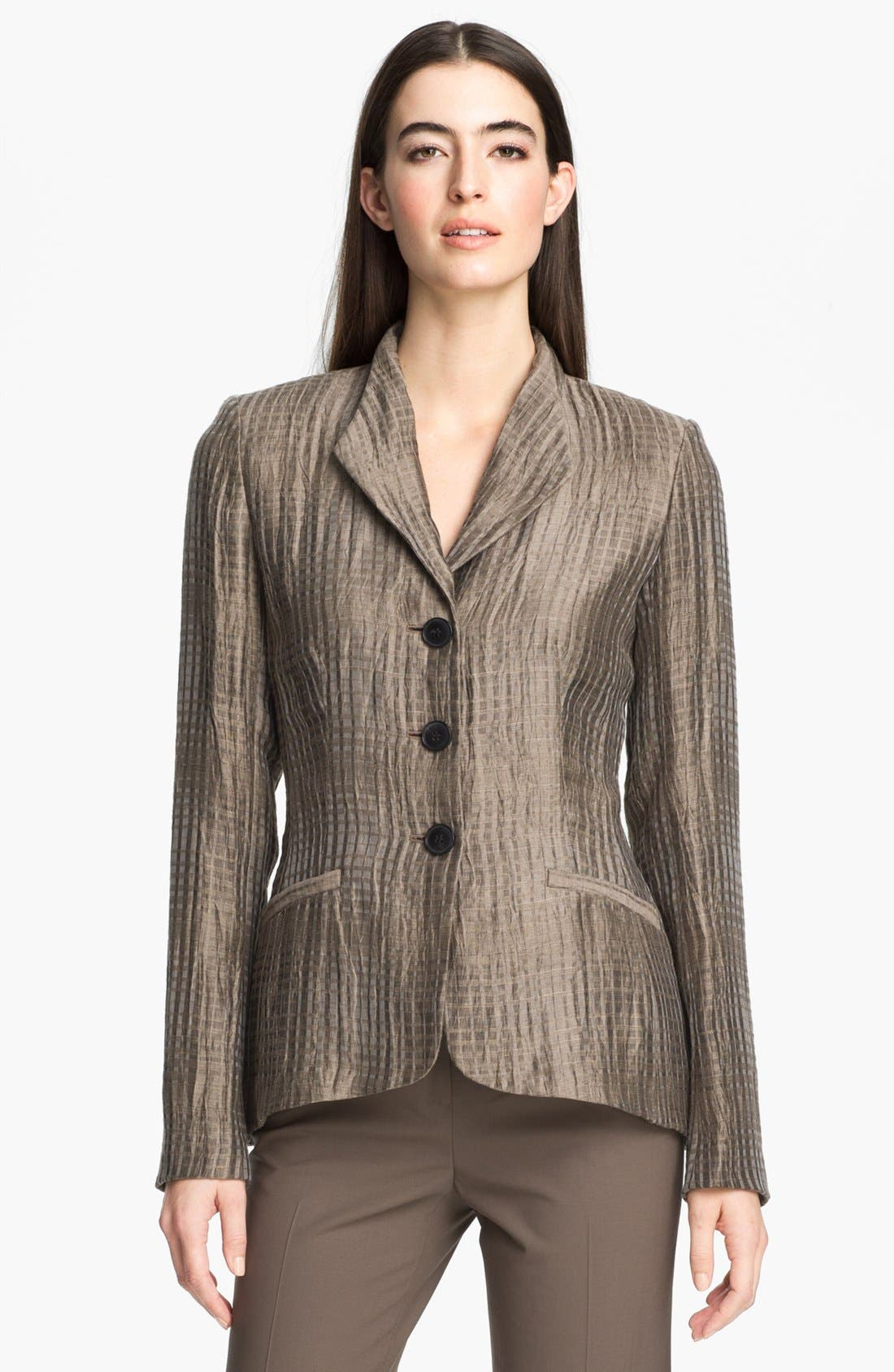 Alternate Image 1 Selected - Lafayette 148 New York 'Beau - Thatched Linen' Jacket (Petite)
