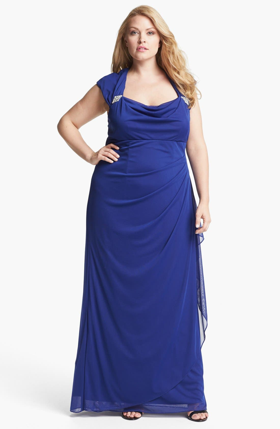 Alternate Image 1 Selected - Xscape Ruched Gown (Plus Size)
