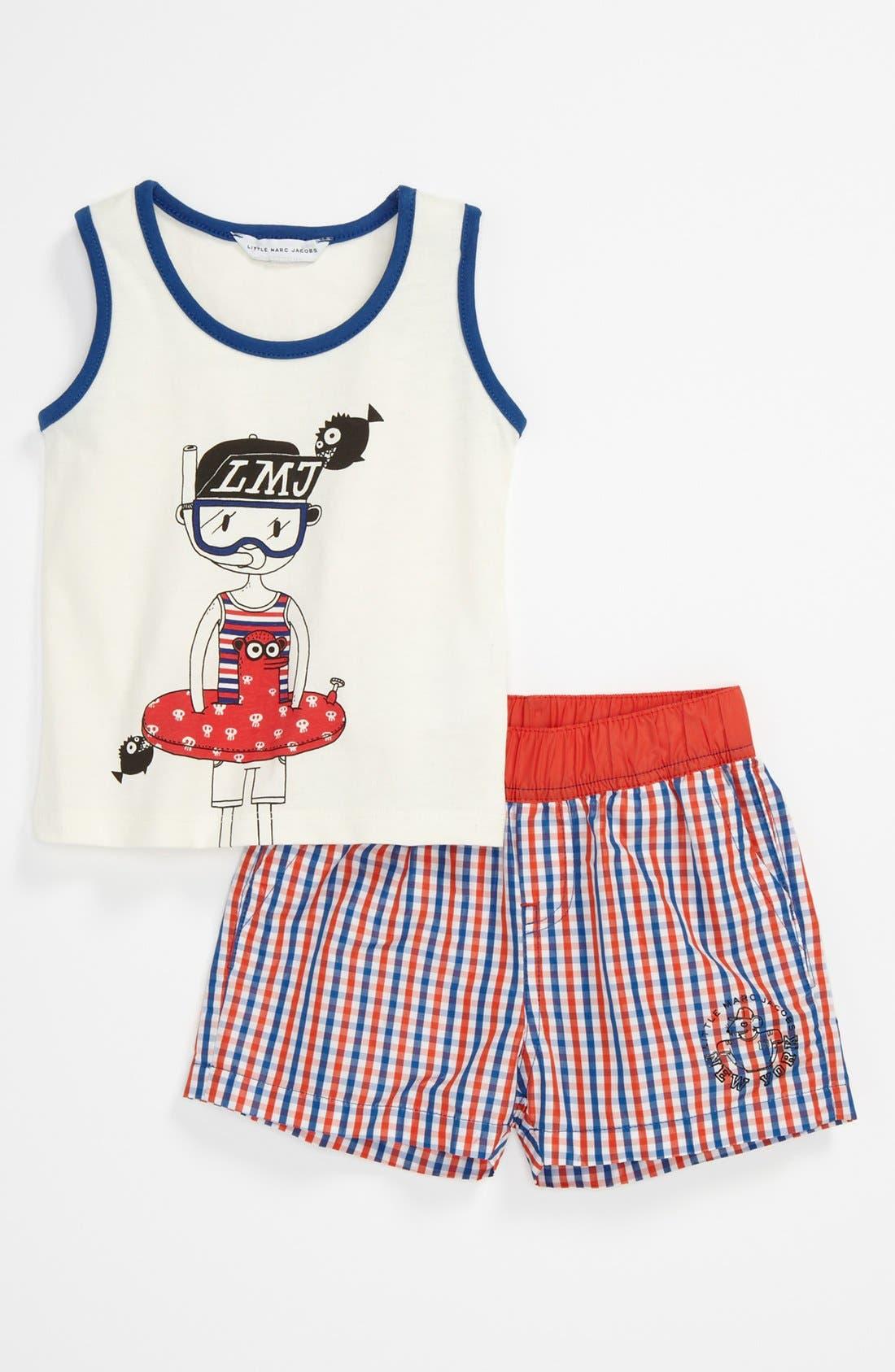 Main Image - LITTLE MARC JACOBS Tank & Swim Short Set (Toddler)