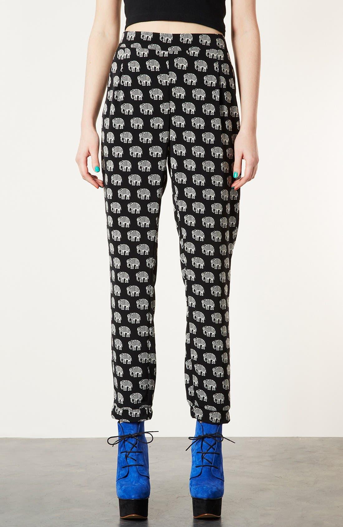 Alternate Image 1 Selected - Topshop Elephant Print Pants