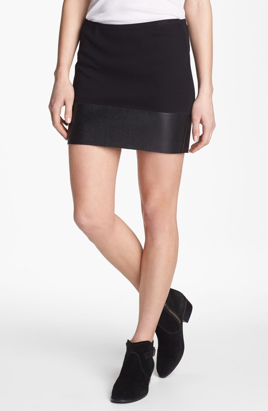 Main Image - Bailey 44 'Mano a Mano' Faux Leather Trim Miniskirt