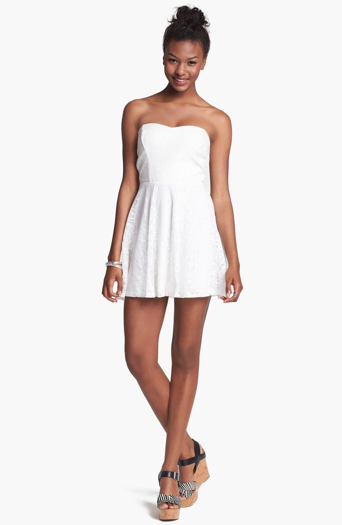 Alternate Image 1  - Trixxi Strapless Lace Skater Dress (Juniors)