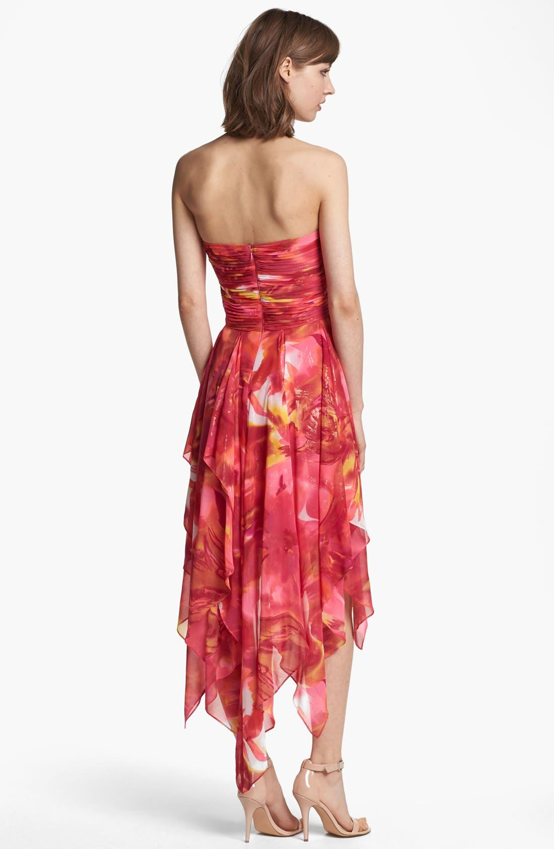 Alternate Image 2  - Hailey by Adrianna Papell Print Strapless High/Low Dress (Online Only)