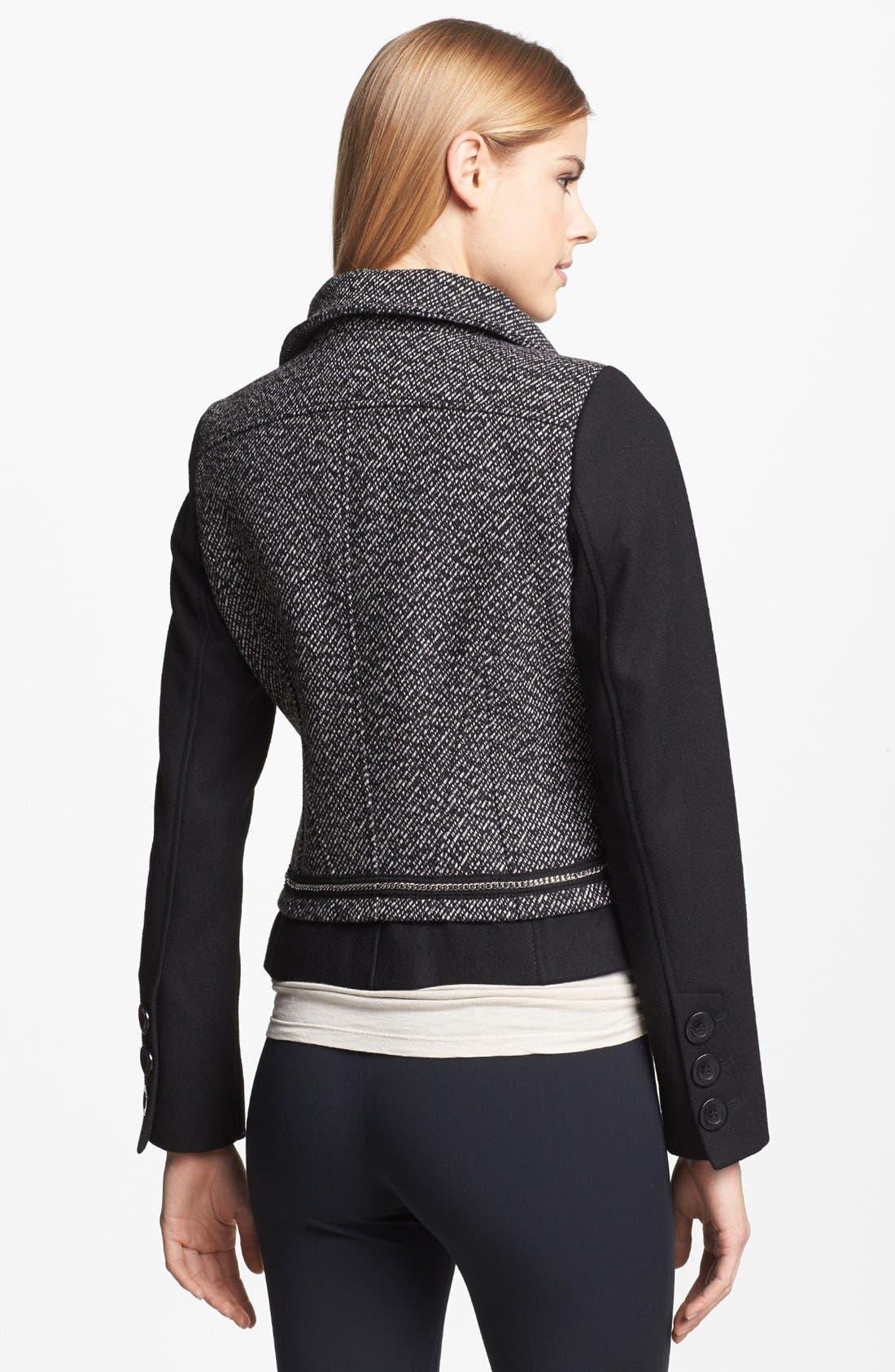 Alternate Image 2  - GUESS Zip Front Mixed Media Jacket (Regular & Petite)