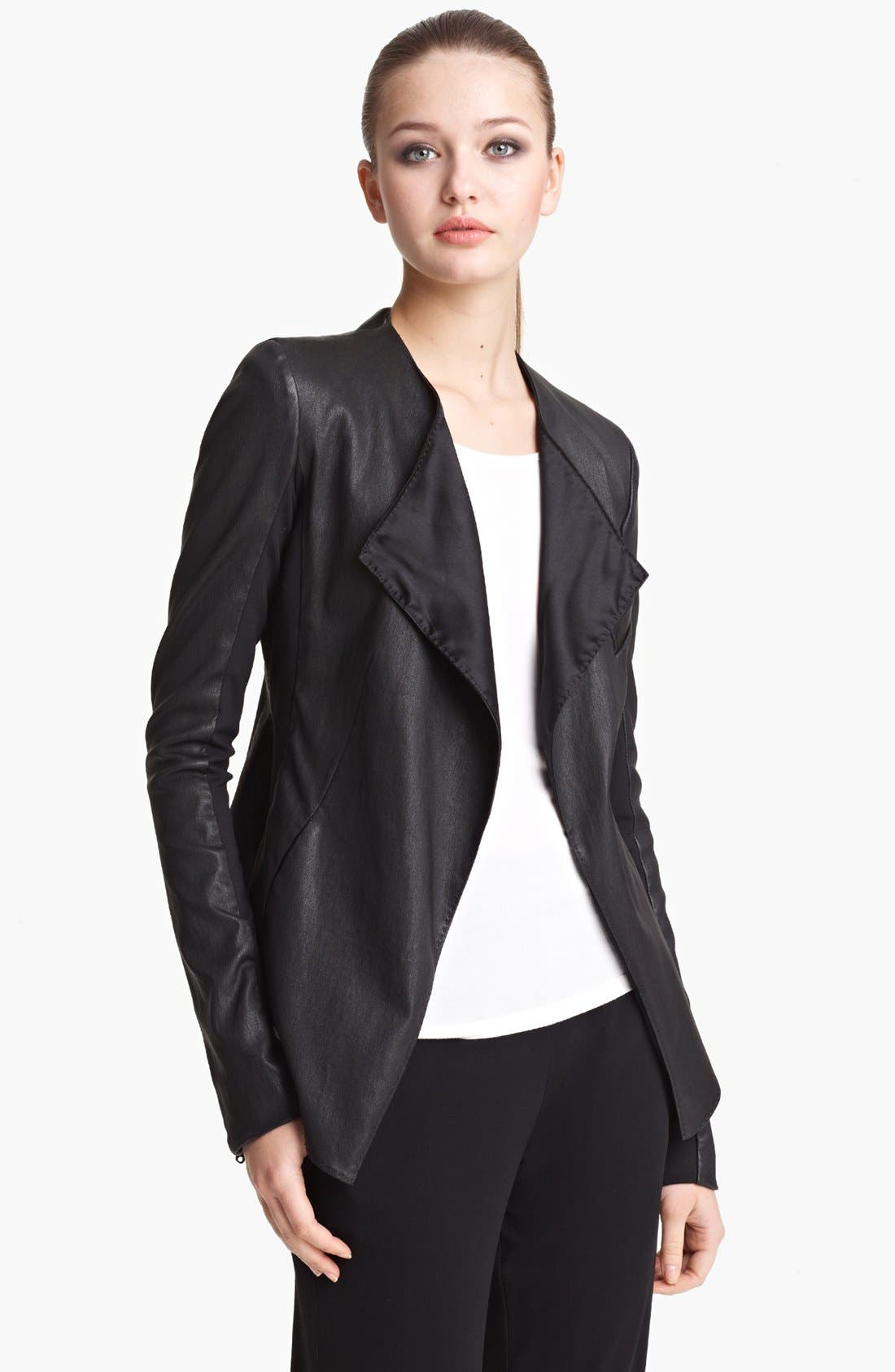 Main Image - Donna Karan Collection Vintage Stretch Leather Jacket