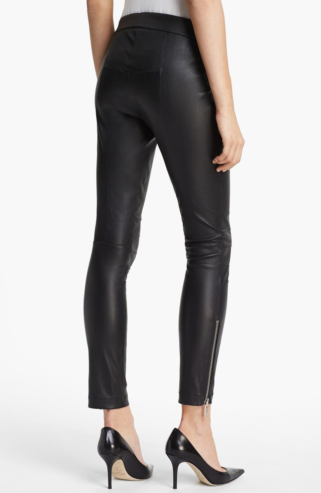 Alternate Image 3  - Elizabeth and James 'Addison' Lambskin Leather Moto Pants