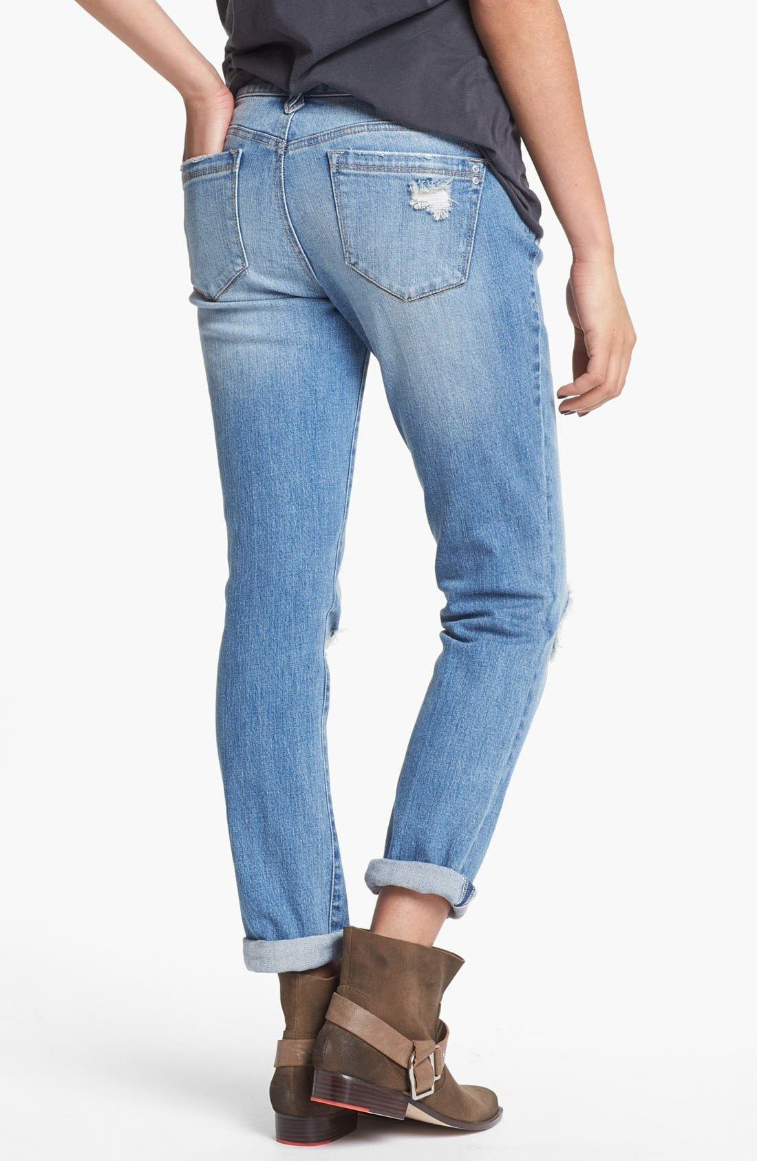 Alternate Image 2  - Jolt Destroyed Boyfriend Skinny Jeans (Medium) (Juniors)