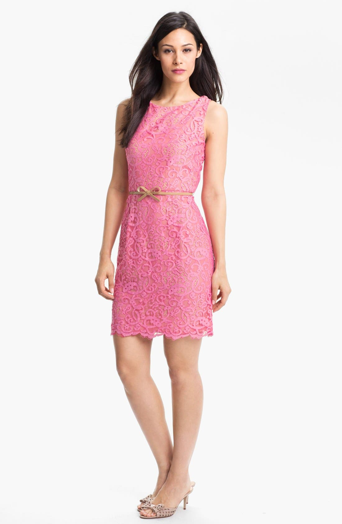 Alternate Image 1 Selected - Donna Morgan Belted Lace Sheath Dress