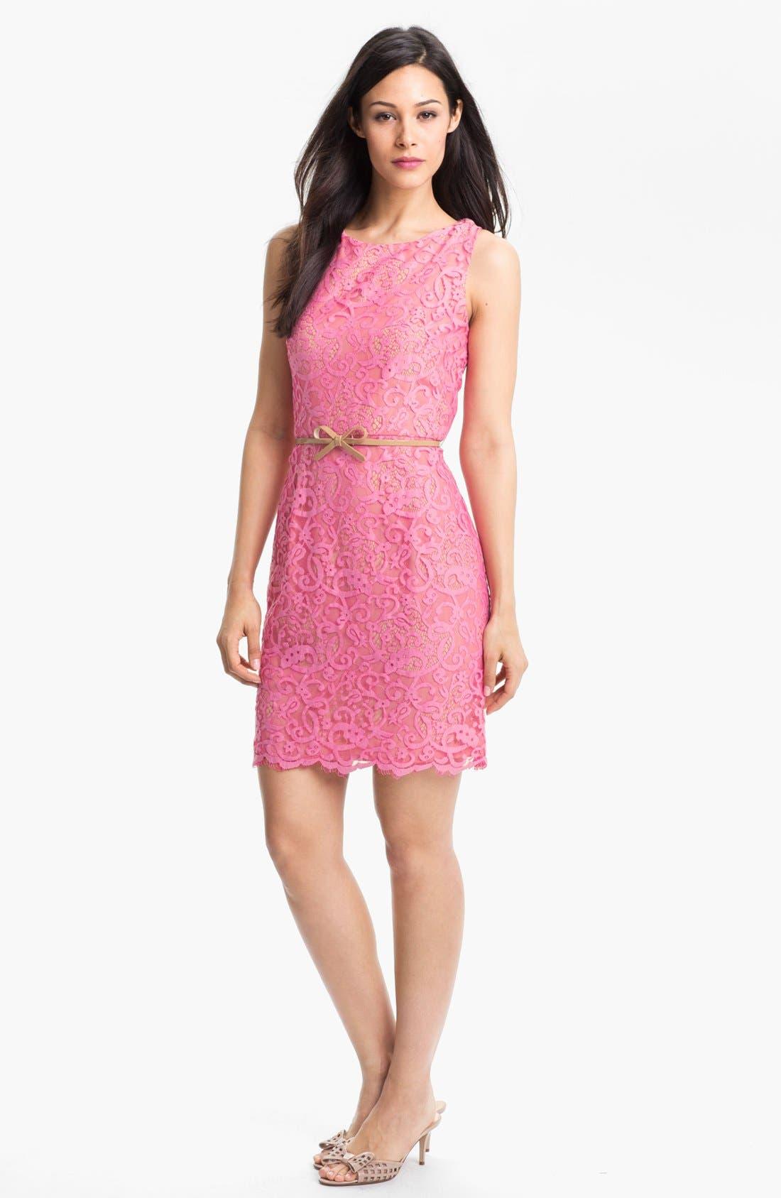 Main Image - Donna Morgan Belted Lace Sheath Dress