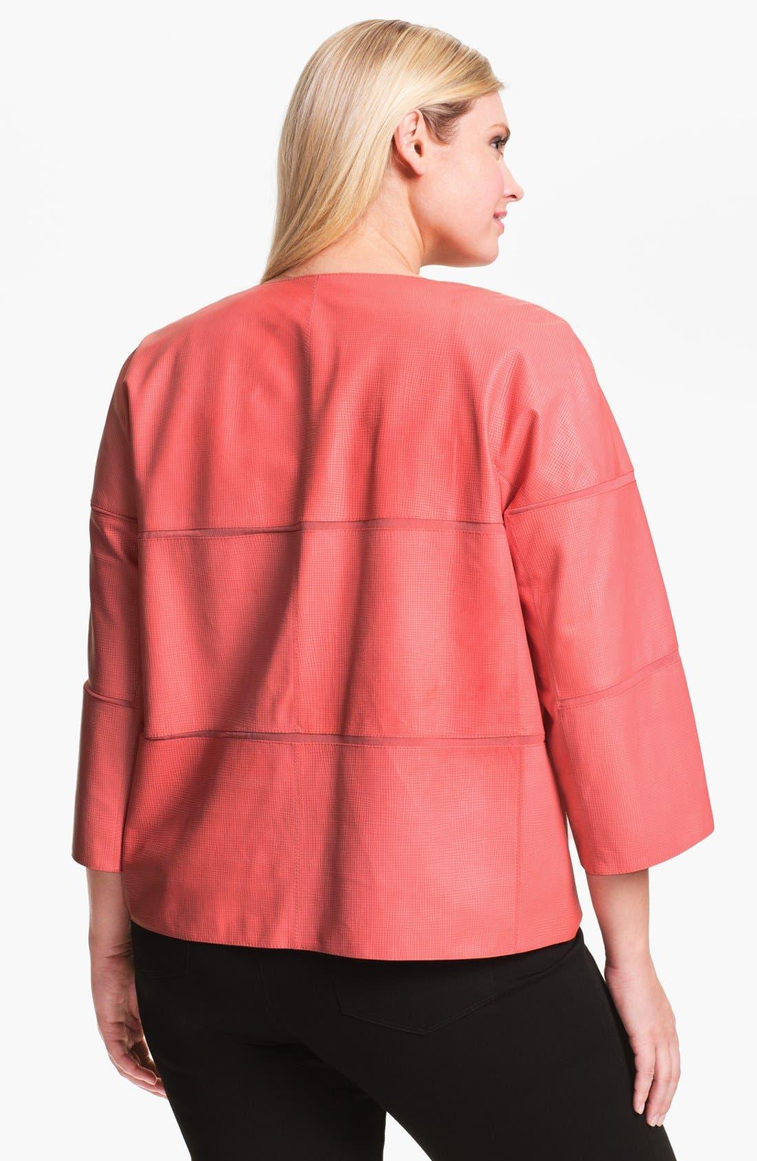 Alternate Image 2  - Lafayette 148 New York Leather Jacket (Plus Size)