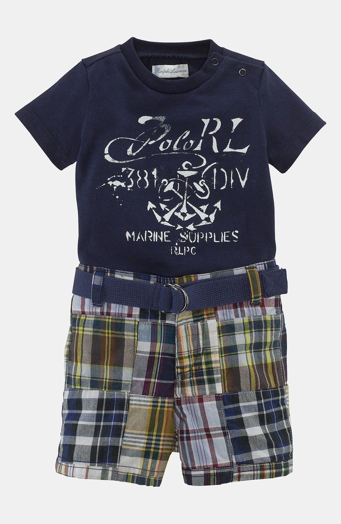 Alternate Image 1 Selected - Ralph Lauren T-Shirt & Shorts (Baby Boys)