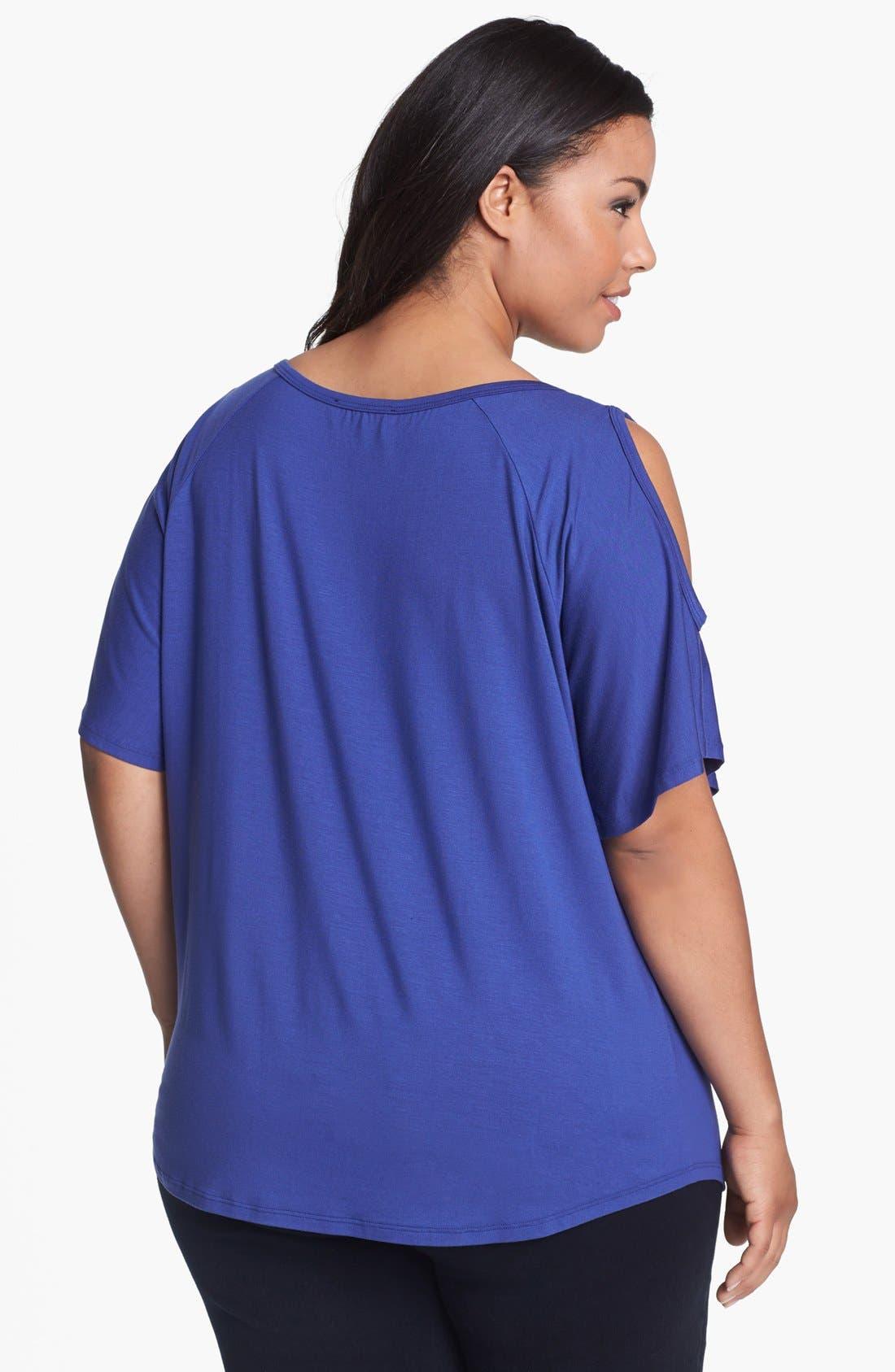Alternate Image 2  - Karen Kane Cold Shoulder Top (Plus Size)