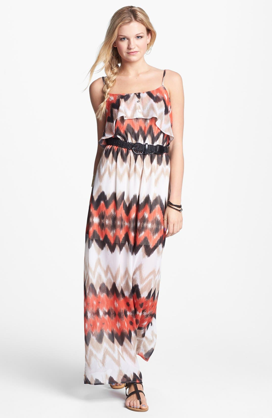 Alternate Image 1 Selected - As U Wish Ruffle Maxi Dress (Juniors) (Online Only)