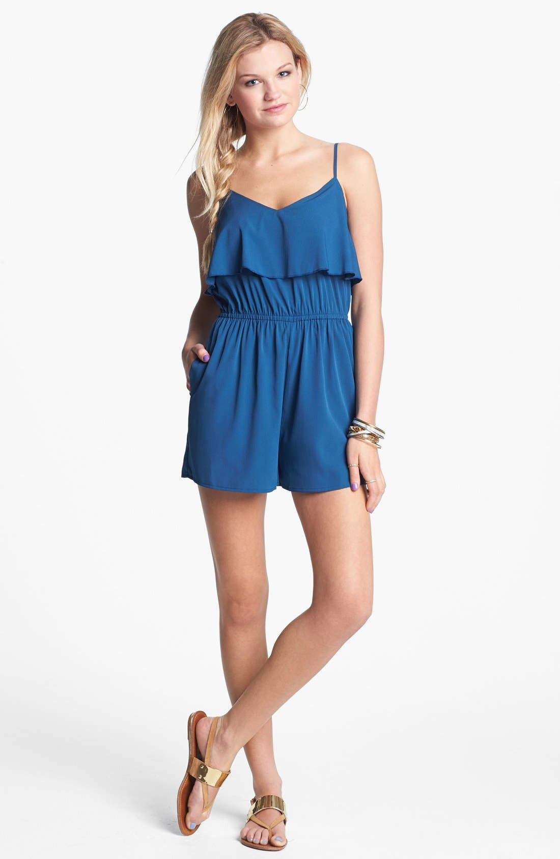 Alternate Image 1 Selected - Band of Gypsies Ruffle Romper (Juniors) (Online Only)